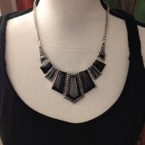 Gray, Black and Silver Detail Necklace